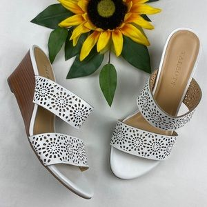 Talbots Cutout Two Strap Slip On Wedge Sandals